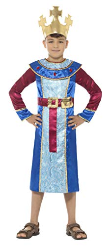Smiffys Kinder Jungen König Melchior Kostüm, Gewand mit angebrachtem Barrengold und Krone, Alter: 10-12 Jahre, 48205
