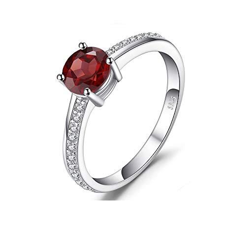RKWEI Ringe Für Runder Roter Granat Weißer Topas Einzelner Steinring Frau 925 Sterlingsilber-Schmucksachen 6 (Granat Ewigkeit Silber Ring)
