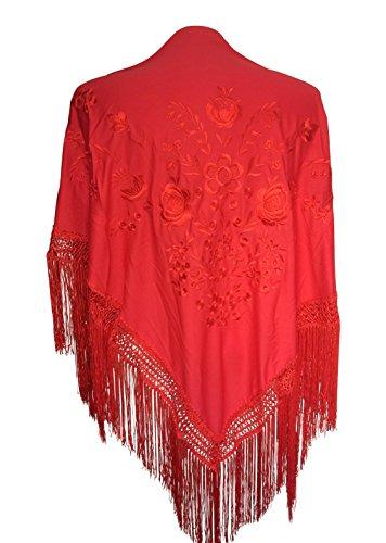 La Señorita Foulard cintura chale manton de manila Flamenco di danza rosso fiori rossi