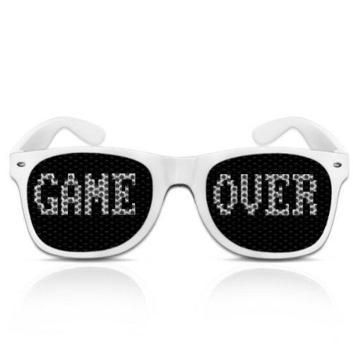 Partybrillen bedruckte Pilotenbrillen beklebte Sonnenbrillen mit Motiv Promotionbrillen - Game over (Weiß)