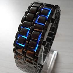 TOOGOO(R) Lava Style Iron Samurai Black Bracelet blue LED Watch with box