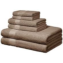 AmazonBasics Everyday Towels - 2 Bath, 2 Hand and 2 Washcloths, Taupe