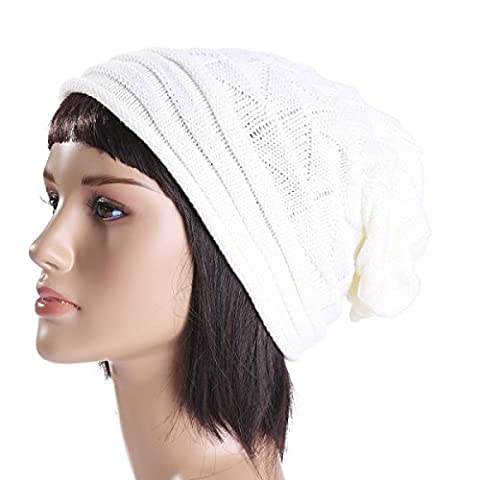 Cashmere Folds Curling Hommes Et Femmes Automne Et Hiver Ski Warm Wool Cap Wind Proof Slouch Stretch En Plein Air Beitted Hat,White-OneSize