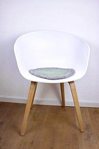 8-Natur Rundes Stuhlkissen in Grau Grün aus 100% Reinem Merinofilz als Bankkissen, Bodenkissen Oder...