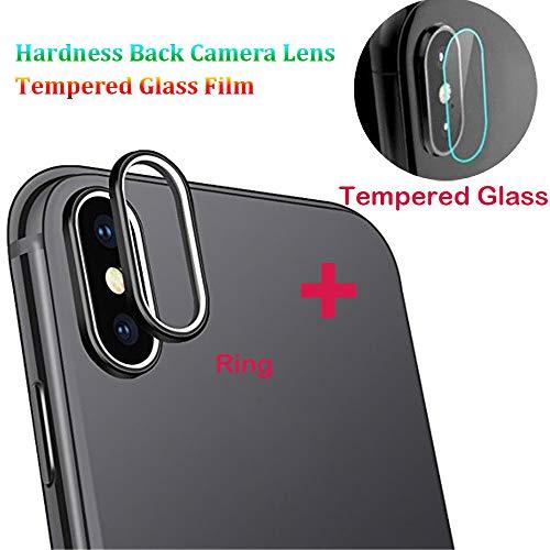 3D Protector Cover für iPhone XS Max 6.5 inch Zoll 9H Härte Cover Clear Zurück Rear Camera Lens Kameralinse gehärtetes Glas Screen Film Protector Cover + Metalllinse Schutzring Bildschirm (Schwarz) Clear Cover Clip