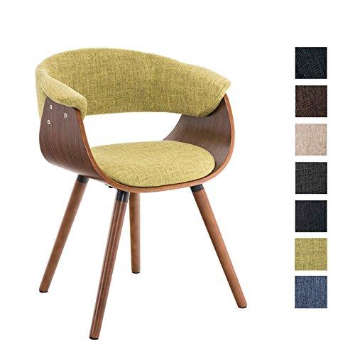 CLP Esszimmerstuhl PIRMA mit Stoffbezug I Konferenzstuhl mit robustem Holzgestell I erhältlich Grün -