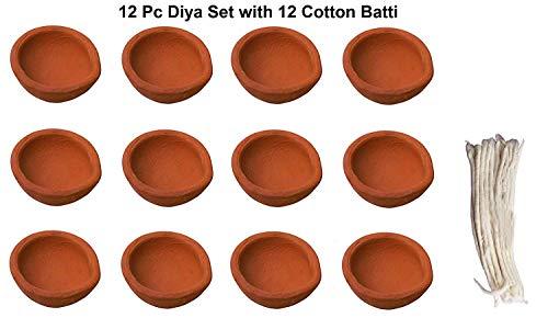 Handgefertigt Natur Öllämpchen deepawali//Diwali Traditionelle Diya... Set von 12Diyas mit 12Baumwolle Batti/Leitet... -