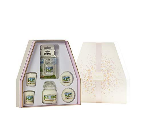 Yankee Candle Duftkerzen-Geschenkset, Clean Cotton, kleine Kerze im Glas, Votivkerzen, Wax Melts und Autolufterfrischer - Cotton Kerze