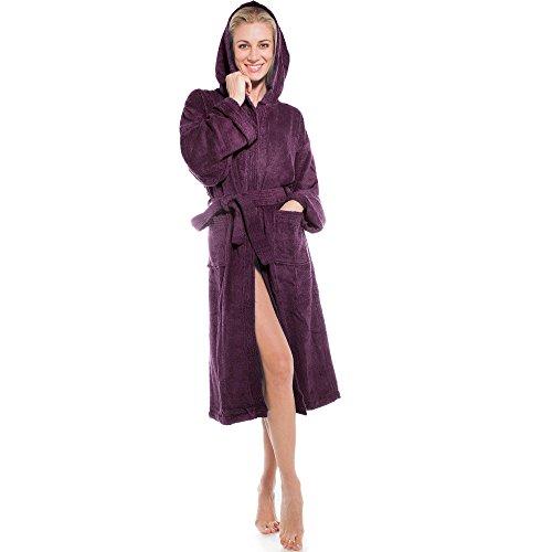 aqua-textil Frottee Bademantel mit Kapuze aus 100% Baumwolle, für Damen u. Herren, Morgenmantel Föhr 1000390 Pflaume M