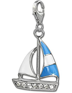SilberDream Charm Segelboot blau 925 Sterling Silber Charms Anhänger für Armband Kette Ohrring FC862B