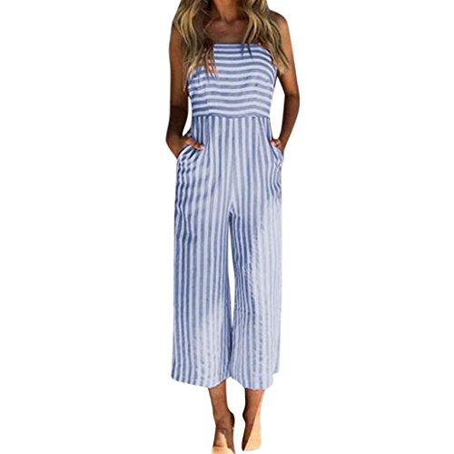 ESAILQ Damen Jumpsuit Sommer Overall Hosenanzug Einteiler Elastisch Stretch Strampler lang Hose One Piece Chiffon(XL,Blau)