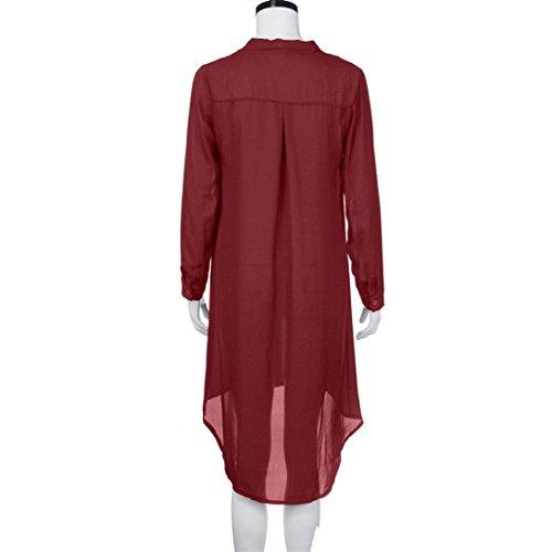 Vestito Donna,Kword Abito Donna Con Cravatta In Chiffon Abiti Di Prua Manica Lunga Vestiti Gonna,Casual,Elegante abito eleganti vino