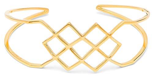 Louise Kragh Damen Armreif Gold Hive: Mit geometrischem Mittelstück stylish und geometrisch 925 Silber matt glänzend vergoldet - BHIV0202g