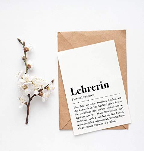 Grußkarte Lehrerin, DIN A6 Karte mit Umschlag (Kraftpapier)