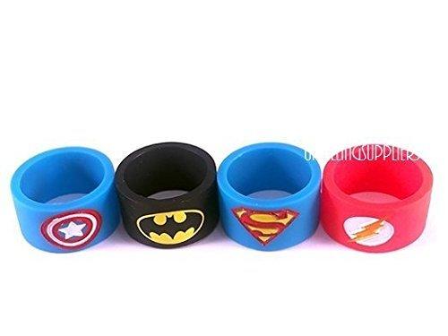 Vape Bands/Schutzring für E-Zigarettenverdampfer/Tröpfelverdampfer und -Akkuträger, 19 mm x 12 mm, Designs: Batman, Superman, Captain America, Flash, 4 Stück