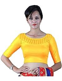 9e71c7327d5ea9 Gebisha Fashion Women s Lycra Designer Front Beads Work Half Sleeve  Stretchable Blouse