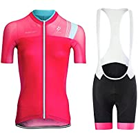 GWJ Ladies Cycling Jersey Half Sleeve Bike Team Racing Top + Culotte Corto,Pink,XXL