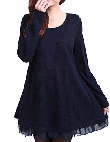 ZANZEA Donna Pizzo Maglione Maglia Maniche Lunghe Vestito Corto Elegante Casual Moda Pullover Blu IT