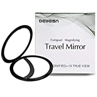 DeWeisn Elegant Compact Pocket Makeup Mirror, Handheld Travel Makeup Mirror with Powerful 10x Magnification and 1x True View Mirror for Travel or Your Purse