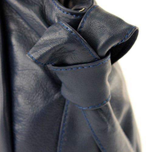 modamoda de �?borsa in pelle da donna borsa a mano borsa a tracolla borsa donna pelle nappa IT28 Dunkelblau