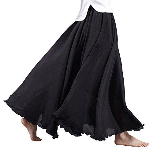 Tomwell Damen Frauen Baumwolle Leinen Double Layer Elastische Taille Langen Langer RockMaxi Rock Hohe Taille Langer Rock Schwarz 95CM -