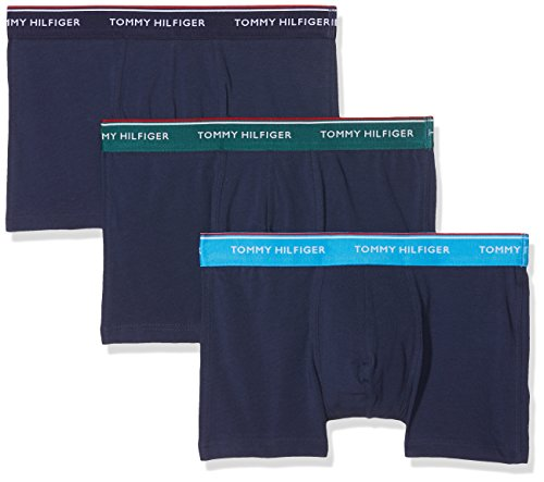 Tommy Hilfiger Herren 3P Trunk Boxershorts, Mehrfarbig (Bayberry/Malibu Blue (Peacoat BOD 358), Medium (erPack 3)