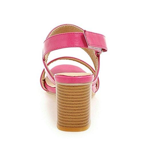TAOFFEN Femmes Mode Bout Ouvert Sandales Chunky Talons Moyen Chaussures De Scratch Rose Rouge