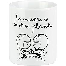 """Mr. Wonderful - Taza """"Lo nuestro es de otro planeta"""", 300 ml, color blanco y negro"""