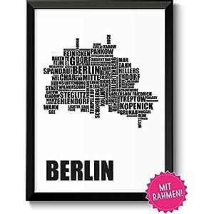 Berlin Karte mit Berliner Stadtbezirke Bild in schwarzem Holz-Rahmen Geschenkidee Geschenk