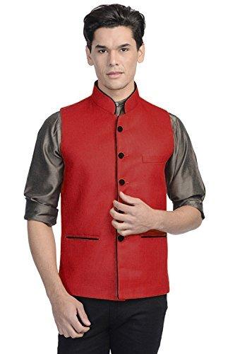 Vastraa Fusion Men's Blended Bandhgala Festive Red Nehru Jacket / Waistcoat