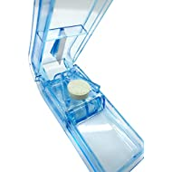 PuTwo Pill Box Travel Pill Cutter Pill Splitter Pill Divider Pill Dispenser with Case - Blue