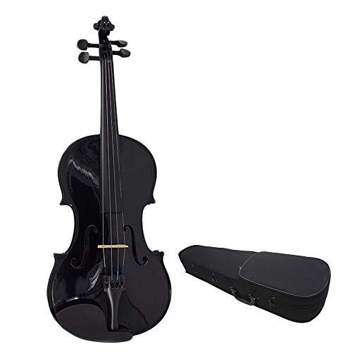 Violino Per Principianti Nero Lucido Full-size Violino Suono For Completare Il Tiglio Solida Custodia Rigida Kit Legno Violino Arco Colofonia Fatta A Mano For Studenti Principianti 4 / 4,3 / 4,1 / 2,1