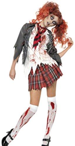 Faschingsfete Damen Zombie Schulmädchen Kostüm, Halloween, XS, Mehrfarbig
