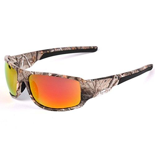 BEESCLOVER Outdoor-Sonnenbrille mit Camouflage-Rahmen, für Herren, Angeln, Jagd, Bootfahren, Red Film Polarized Light