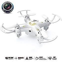 LNLJ Teledirigido Drone y cámara con 0.3 MP cámara Mini Quadcopter 2.4 G 4CH 6-Axis giroscopio Modo sin Cabeza, 360 ° Roll para Principiantes (con Tarjeta de Memoria 1G),White