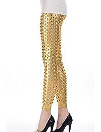 EROSPA® Leggings Röhrenform einzigartige Metallic-Optik Schuppen gold