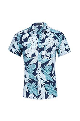 Simgahuva-Hombres-Camisa-Hawaiana-Botn-Floral-Abajo-Bolsillo-Delantero-Aloha-Shirts-Blue-XXL
