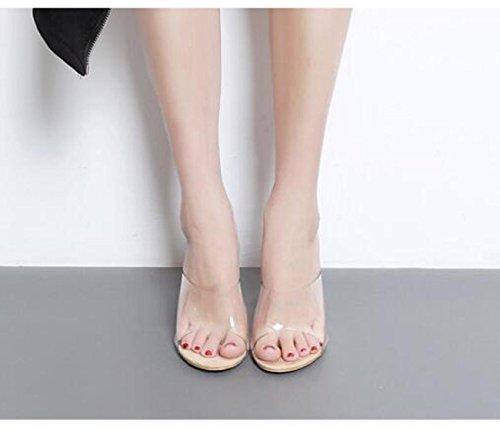 Beauqueen Crystal Heel Hochzeit Beliebte Pantoffeln Chunky Crystal Ferse Transparente Obere Peep Toe Frauen Feminine Casual Sandalen EU Größe 35-40 apricot
