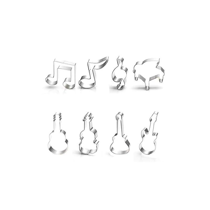 Anokay 8tlg Musikinstrument Musik Note Ausstechformen Set Ausstecher Brot Aus Edelstahl Fr Kinder Keksausstecher Fr Tortendeko Kekse Backen Kche Zubehr Weihnachten Halloween Kindergeburtstag