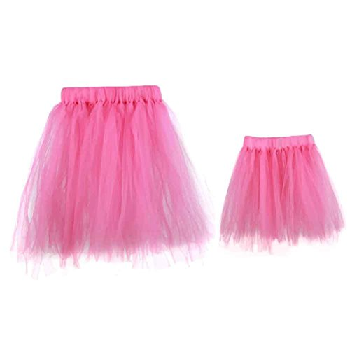 Bekleidung Longra 1SET Mon and 0 ~ 6 Monate Baby Tutu Kleider Kostüm Foto Fotografie Prop Outfits Hauchrock (Hot Pink)