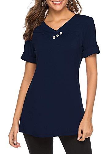 KISSMODA Damen Sweatshirt Lose Plain Slip Blusen Tops Navy Blue Large (Navy Blusen Und Tops)