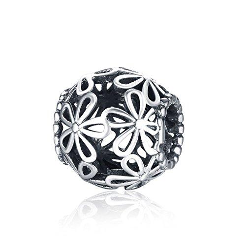 Hmilydyk stile europeo con ciondolo a forma di fiore in argento sterling 925massiccio pandora ovale catena braccialetto gioielli