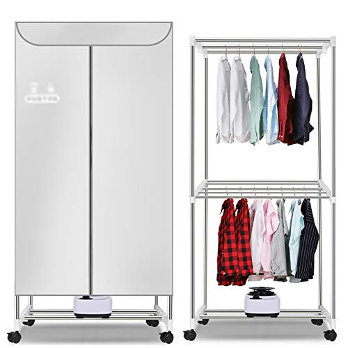 Vestiti domestici asciugatrice, vestiti riscaldamento asciugatrice 3 strati di grande capacità asciugatura rapida gancio multifunzionale armadio portatile stendibiancheria risparmio energetico