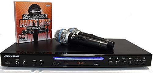 Vocal-Star VS-600 Black HDMI CDG DVD Karaoke Machine, 2 Pin EU Plug, 2 Microphones & 150 Songs (English Manual)