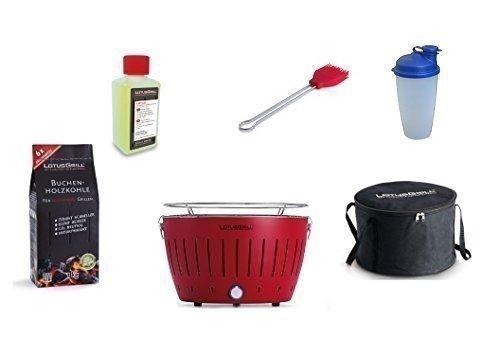 LotusGrill Barbecue Kit de démarrage 1x Lotus Barbecue charbon de bois de hêtre Feu Rouge, 1x 1kg, 1x Pâte combustible 200ml, 1x Pinceau Feu Rouge, 1x Shaker à vinaigrette, 1x sac de transport