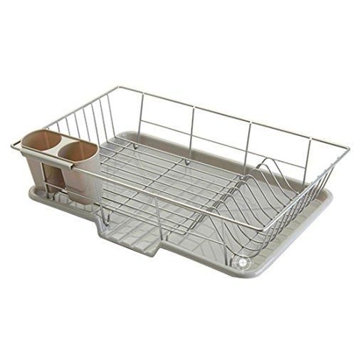 Lommer Égouttoir à Vaisselle, Etagère de Rangement de Cuisine en Acier Inoxydable Égouttoir Vaisselle en INOX, 48*30*11cm