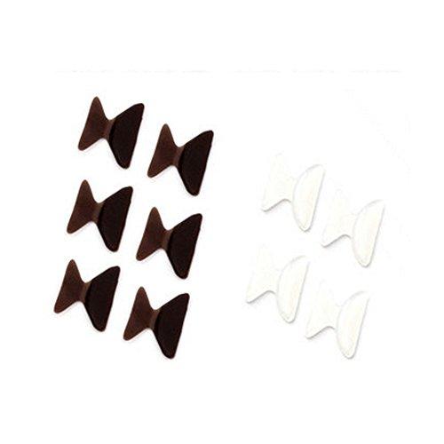 5 Paar 2.5mm Anti-Rutsch-Silikon Brille Nasenpads Braun+Transparent