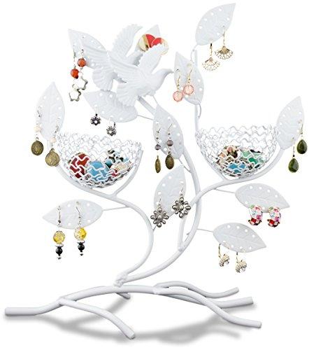 Soporte de joyería 'ramas con nidos' - blanco - 30 x 11 x 32 cm - marco para almacenamiento de joyas y presentación - Grinscard
