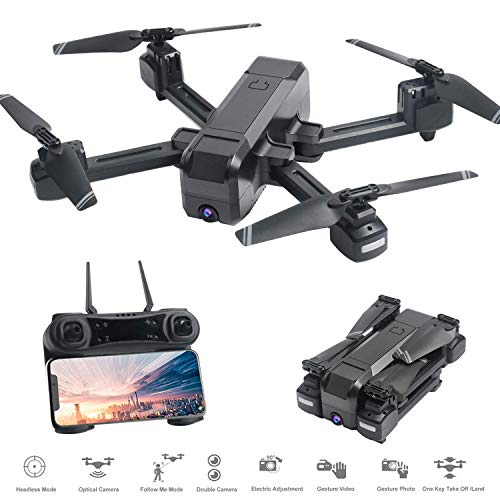 Hotbird H80 Drohne mit 4K Kamera für Erwachsene, 120 ° FOV Follow Me Optischer Fluss Position 15 Minuten Lange Flugzeit FPV Racing Geste Selfie Dual Kameras Quadcopter