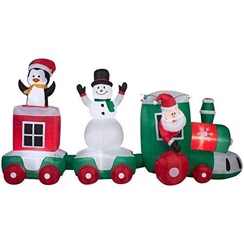 Hause Akzente Urlaub 11Fuß erleuchtet Airblown aufblasbare Santa Weihnachten Zug Szene (Aufblasbare Schneemann Weihnachten)
